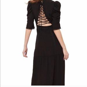 TopShop Black Turtleneck Lace Back Cutout Dress